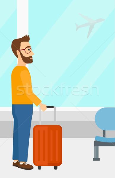 Férfi repülőtér bőrönd hipszter szakáll repülőgép Stock fotó © RAStudio
