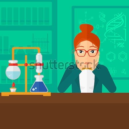 Człowiek rozpacz głowie asian chemia laboratorium Zdjęcia stock © RAStudio