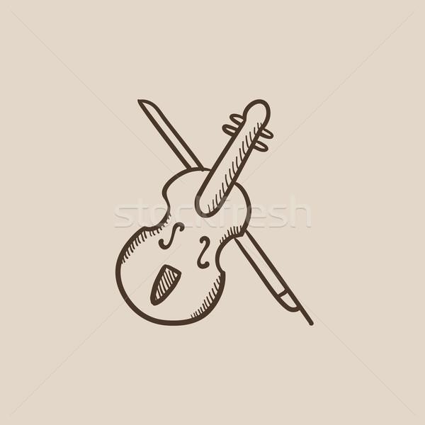 Hegedű íj rajz ikon háló mobil Stock fotó © RAStudio
