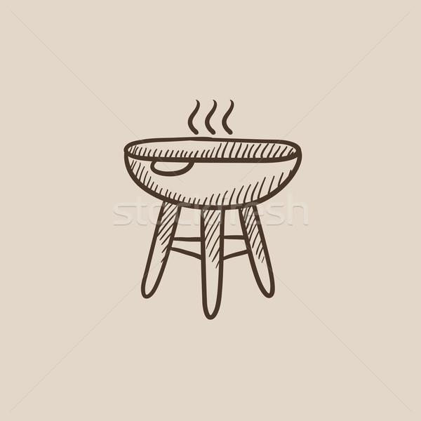 Ketel barbecue schets icon web mobiele Stockfoto © RAStudio
