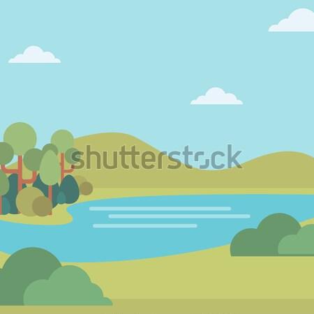 Stock fotó: Tájkép · dombok · folyó · vektor · terv · illusztráció