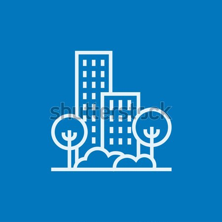 Residencial edificio árboles línea icono esquinas Foto stock © RAStudio