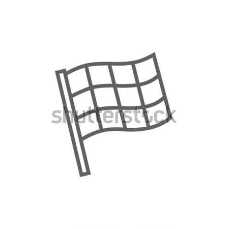 Checkered flag line icon. Stock photo © RAStudio