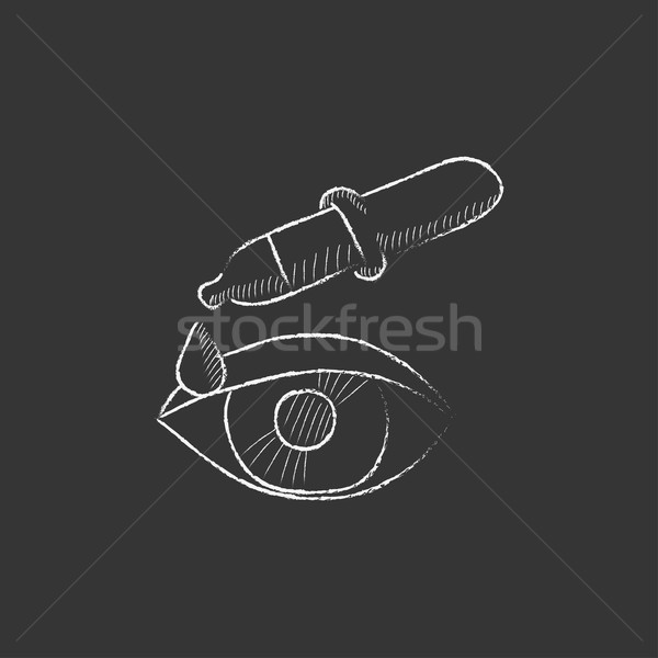 Pipette and eye. Drawn in chalk icon. Stock photo © RAStudio