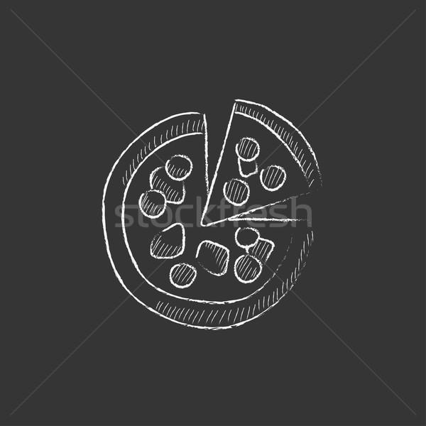 Whole pizza with slice. Drawn in chalk icon. Stock photo © RAStudio