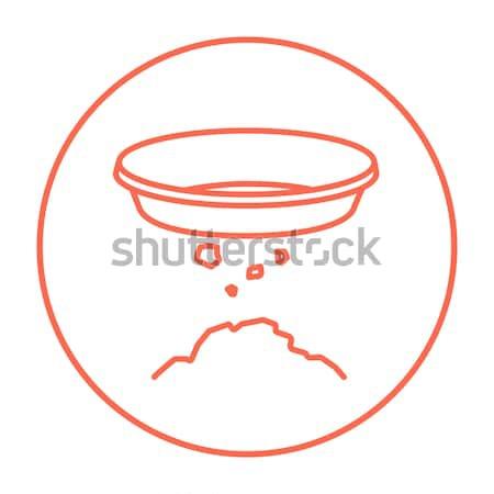 Bowl for sifting gold line icon. Stock photo © RAStudio