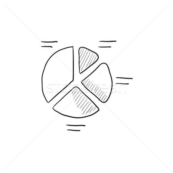 ストックフォト: 円グラフ · スケッチ · アイコン · ベクトル · 孤立した · 手描き