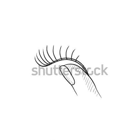 付け睫毛 スケッチ アイコン ベクトル 孤立した 手描き ストックフォト © RAStudio