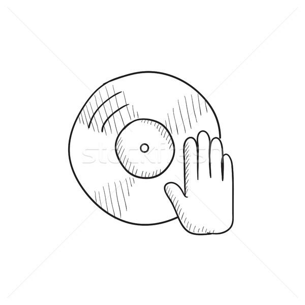 Lemez kéz rajz ikon vektor izolált Stock fotó © RAStudio