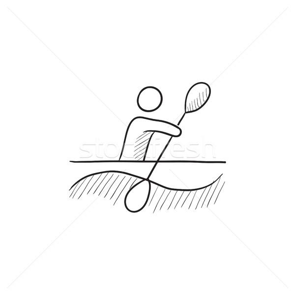 Man kayaking sketch icon. Stock photo © RAStudio