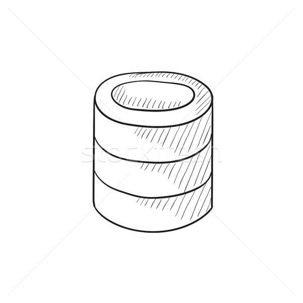 Számítógép szerver rajz ikon vektor izolált Stock fotó © RAStudio