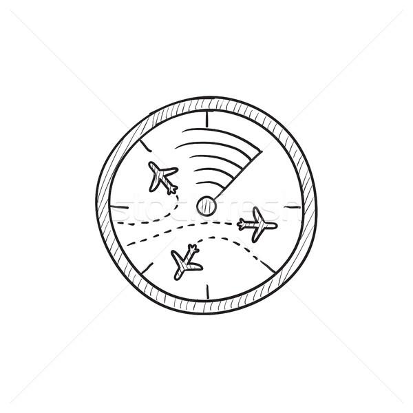 Radar ekranu samolotów szkic ikona wektora Zdjęcia stock © RAStudio