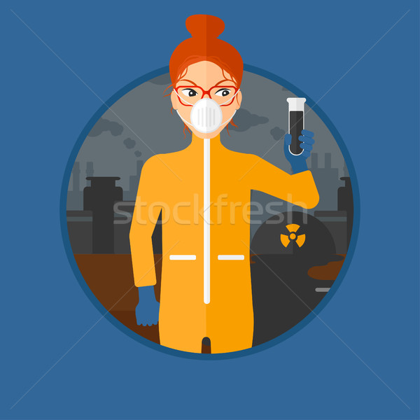 Mulher radiação terno test tube preto Foto stock © RAStudio