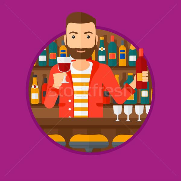Barman stałego bar Licznik broda Zdjęcia stock © RAStudio