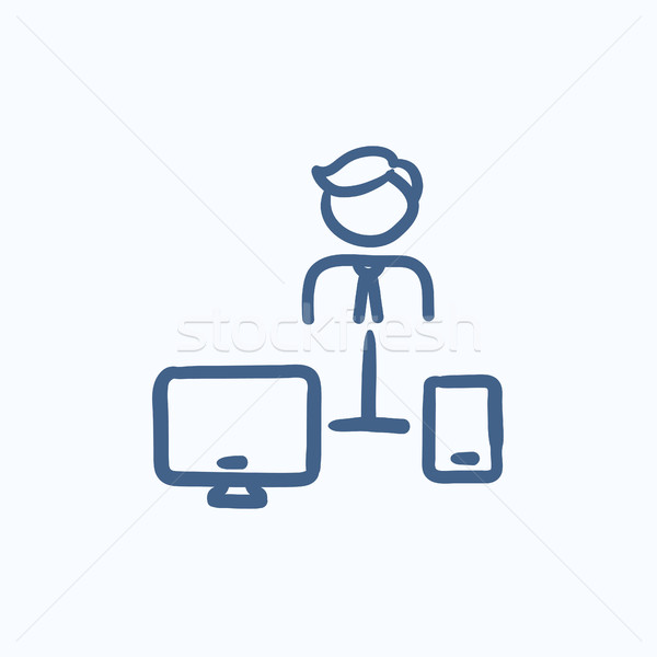 Man linked with computer and phone sketch icon. Stock photo © RAStudio