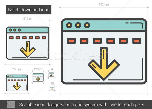 Stock foto: Batch · download · line · Symbol · Vektor · isoliert