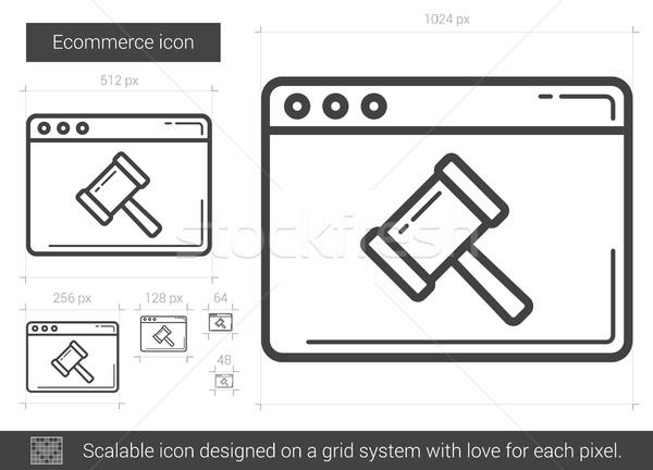 электронной коммерции линия икона вектора изолированный белый Сток-фото © RAStudio