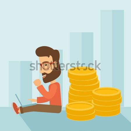 Zakenman vergadering gouden munten Maakt een reservekopie geslaagd Stockfoto © RAStudio