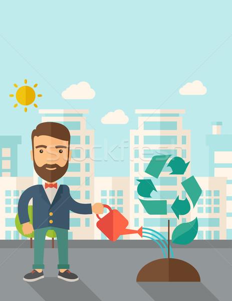 Férfi locsol fa zöld újrahasznosít javít Stock fotó © RAStudio
