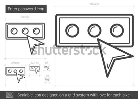 Eintrag Kennwort line Symbol Vektor isoliert Stock foto © RAStudio
