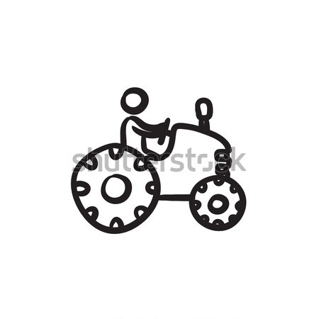 Homem condução trator esboço ícone vetor Foto stock © RAStudio