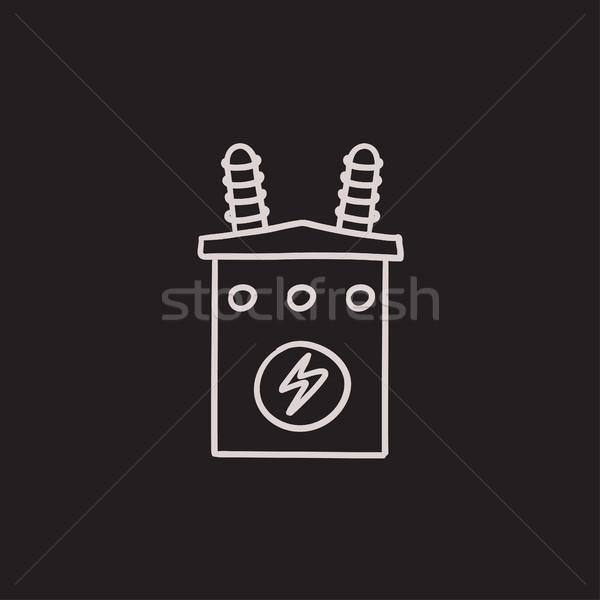 Stock fotó: Nagyfeszültség · transzformátor · rajz · ikon · vektor · izolált
