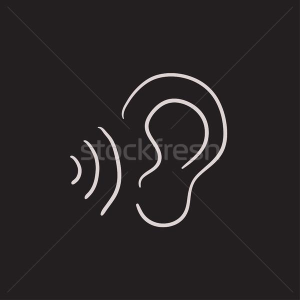 уха звук волны эскиз икона вектора Сток-фото © RAStudio
