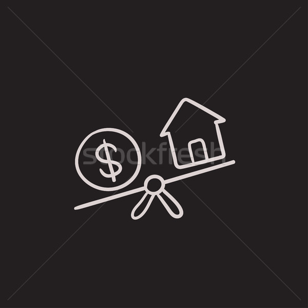 House and dollar symbol on scales sketch icon. Stock photo © RAStudio