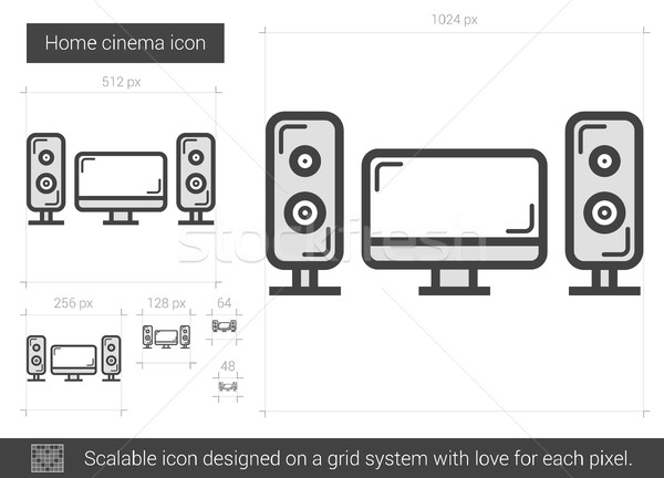 Home cinema lijn icon vector geïsoleerd witte Stockfoto © RAStudio