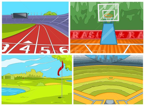 Cartoon ingesteld sport infrastructuur achtergronden Stockfoto © RAStudio