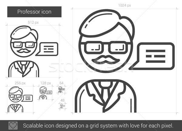 Stockfoto: Hoogleraar · lijn · icon · vector · geïsoleerd · witte