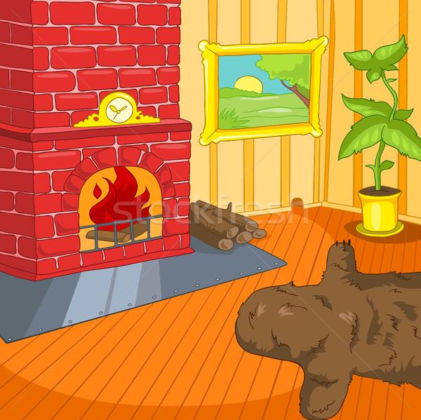 Cartoon background of vintage living room interior Stock photo © RAStudio