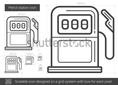 Gasolinera línea icono vector aislado blanco Foto stock © RAStudio