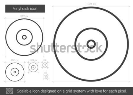 Vinyl schijf lijn icon vector geïsoleerd Stockfoto © RAStudio
