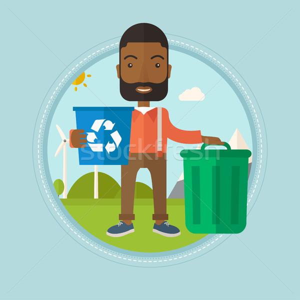 человека Recycle мусорное ведро рециркуляции Сток-фото © RAStudio