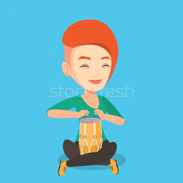 Vrouw spelen etnische trommel jonge vrouw Stockfoto © RAStudio