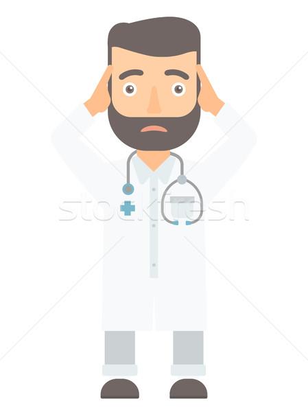 Doctor clutching his head vector illustration. Stock photo © RAStudio
