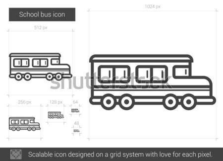 Iskolabusz vonal ikon vektor izolált fehér Stock fotó © RAStudio