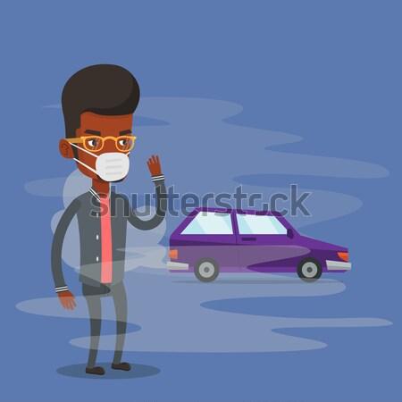 Ar poluição veículo esgotar homem em pé Foto stock © RAStudio