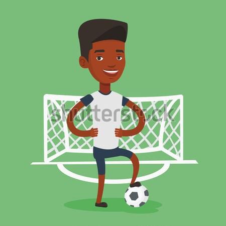 Football player with ball vector illustration. Stock photo © RAStudio