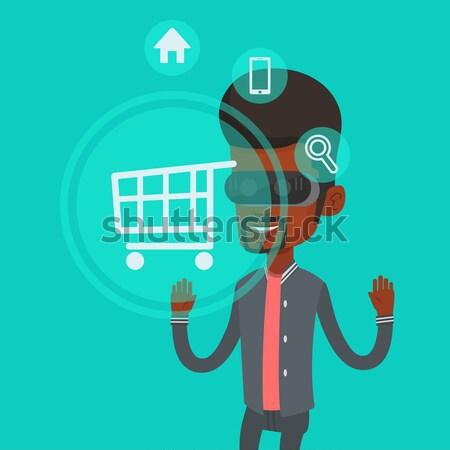 ストックフォト: 男 · バーチャル · 現実 · ヘッド · ショッピング · を