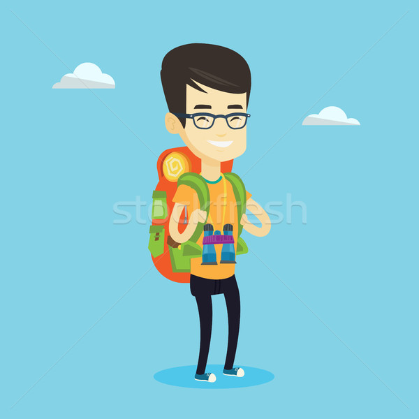 Cheerful traveler with backpack. Stock photo © RAStudio