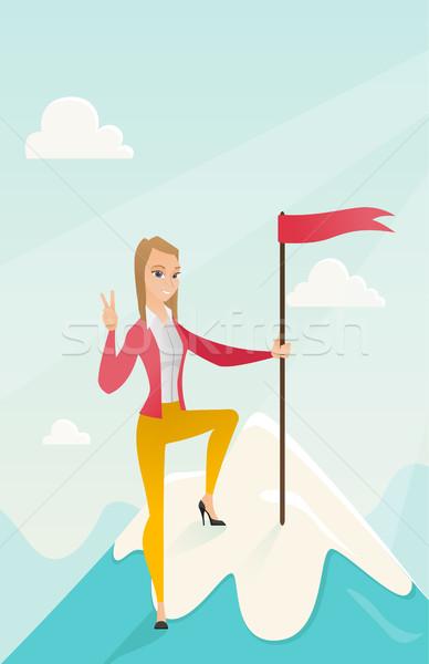 Realização negócio sucesso mulher de negócios alcançado bandeira Foto stock © RAStudio