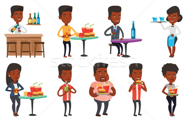 Vector set of people eating and drinking. Stock photo © RAStudio