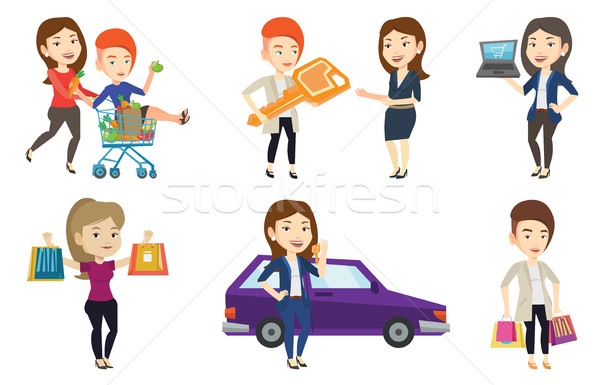 Vector set of shopping people characters. Stock photo © RAStudio