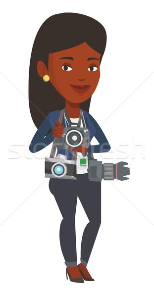 Photographer taking photo vector illustration. Stock photo © RAStudio