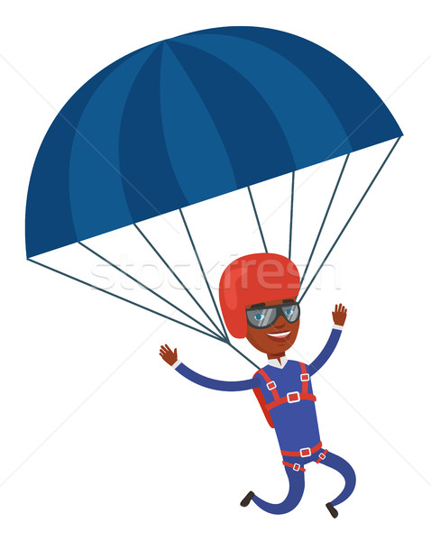 Fiatal boldog férfi repülés ejtőernyő fiatalember Stock fotó © RAStudio