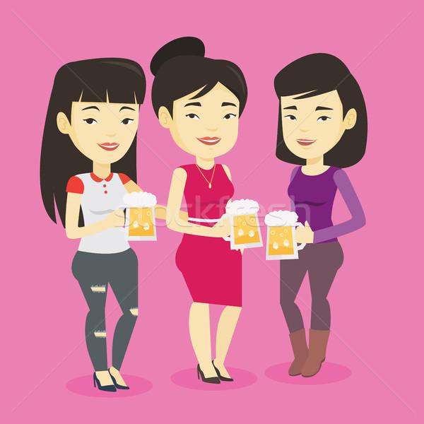 Grupo amigos cerveja pub asiático Foto stock © RAStudio