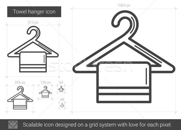Serviette cintre ligne icône vecteur isolé Photo stock © RAStudio