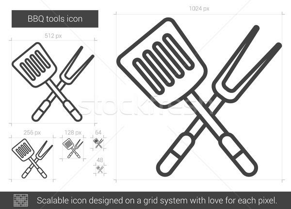 Bbq tools lijn icon vector geïsoleerd Stockfoto © RAStudio